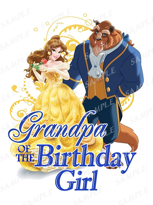 Beauty and the Beast Birthday Shirt, Heat Transfer, iron on. Grandpa