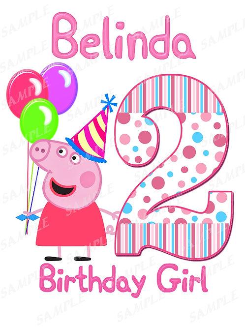 Peppa Pig Birthday Girl. Peppa Pig Iron on Transfer. Design #3