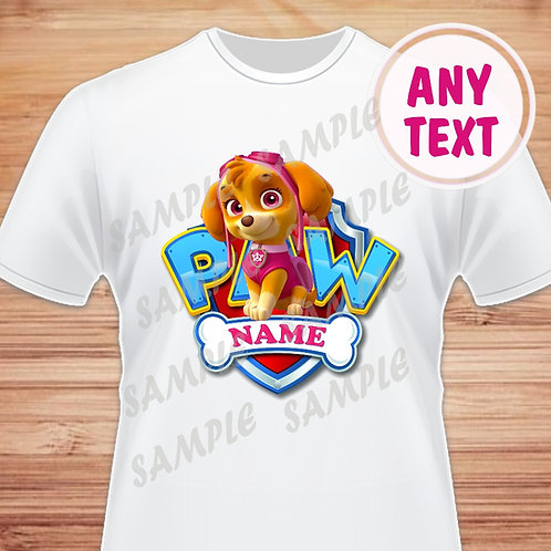 Paw Patrol Birthday Shirt. Paw Patrol Iron on Transfer. Skye