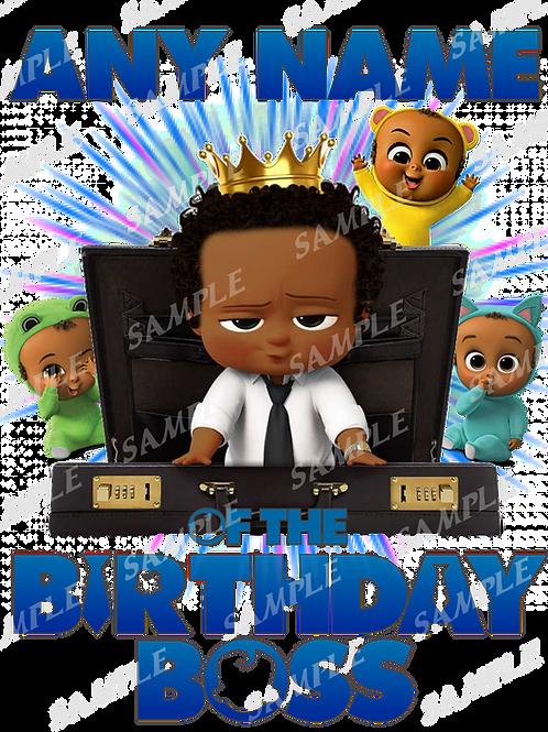 Boss Baby Birthday Shirt. Iron on Transfer. African American Boy.