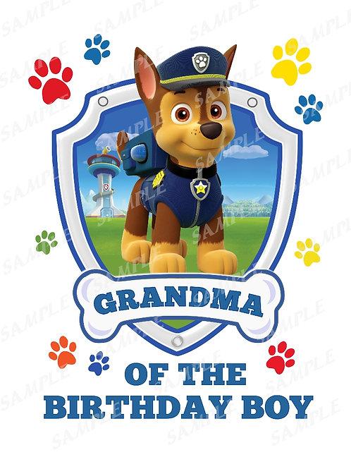 Chase Paw Patrol Birthday Shirt, Iron on transfer. Grandma images jpg