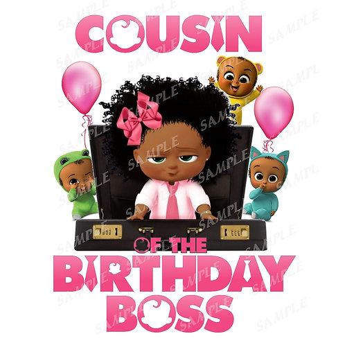 Boss Baby Birthday Shirt, Iron on. African American Girl. Cousin
