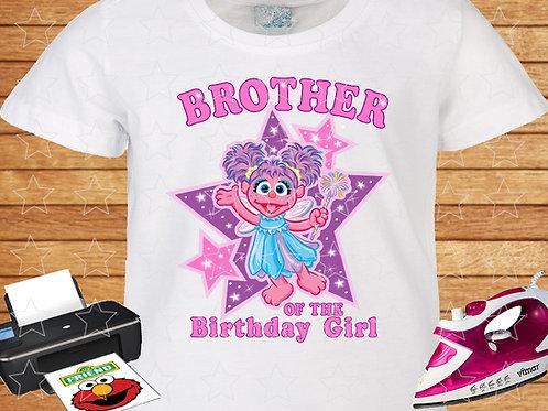 Sesame Street Abby Cadabby Birthday Shirt. Iron on Transfer. Brother.