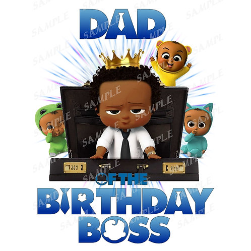 Boss Baby Birthday Shirt, Iron on. African American Boy. Dad