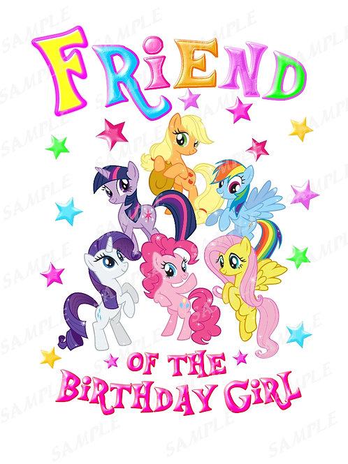 My Little Pony Birthday Shirt, Iron on Transfer. Printable friend