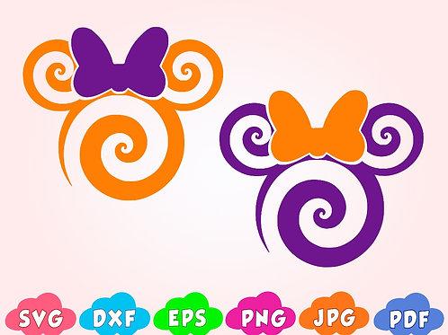 Disney Halloween Mickey SVG, Candy cane, swirl