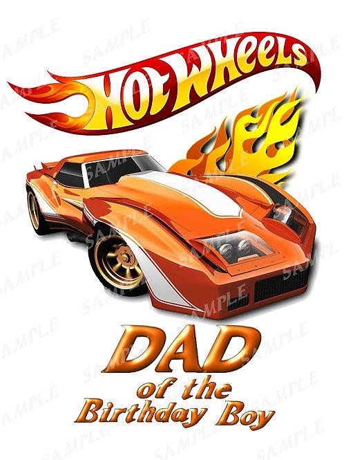 Hot wheels birthday shirt, iron on transfer, printable png. Dad