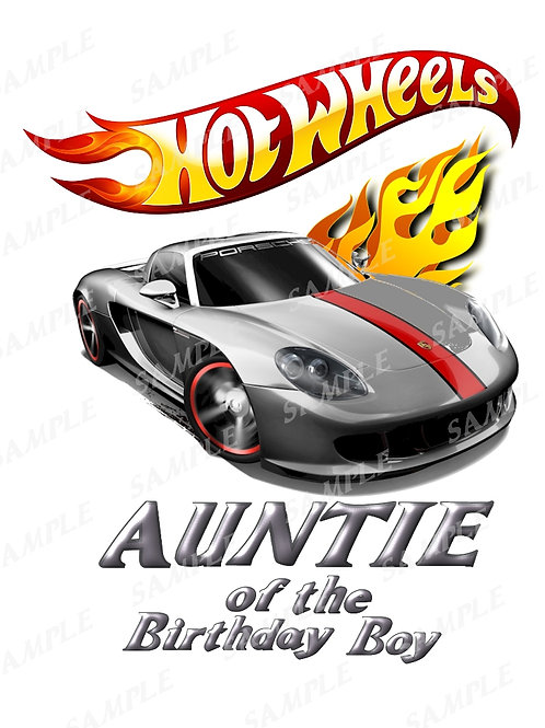 Hot wheels birthday shirt, iron on transfer, printable png. Auntie