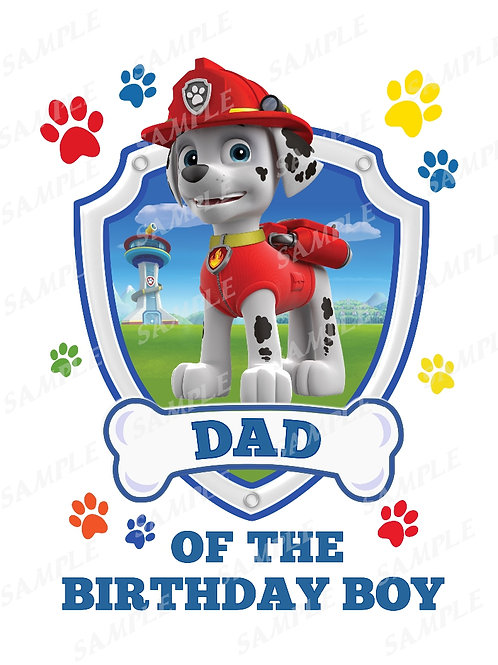 Paw patrol Marshall | dad | instant download | iron on transfer