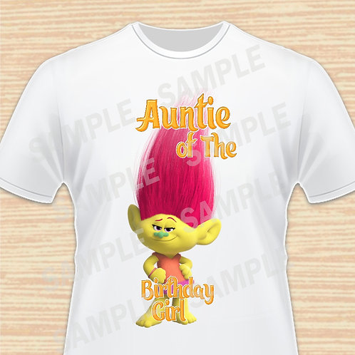 Trolls Mandi iron on transfer, Trolls Auntie Birthday Girl Shirt, png