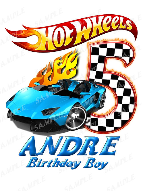 Hot wheels birthday boy, iron on transfer, design #7. Any name age