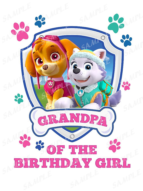 Skye Everest Paw Patrol Birthday Shirt, iron on transfer JPEG. Grandpa