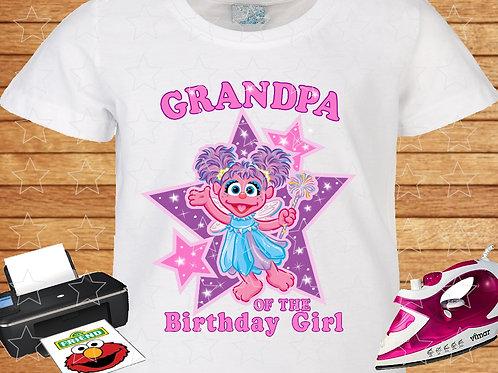 Sesame Street Abby Cadabby Birthday Shirt. Iron on Transfer. Grandpa
