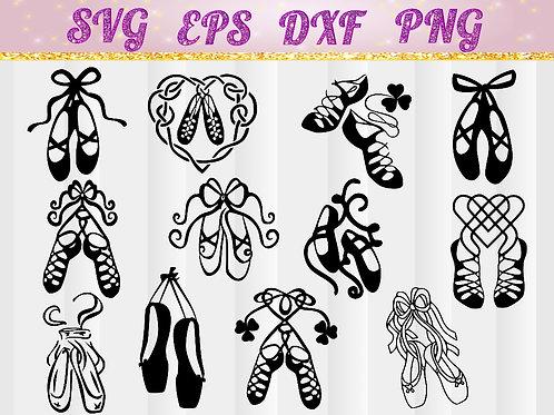 pointe shoes, Ballet Dancer SVG, ballet slippers Shoes, childrens ballet, Ballarina, Dance, cut file, DXF, T-shirt Transfer,