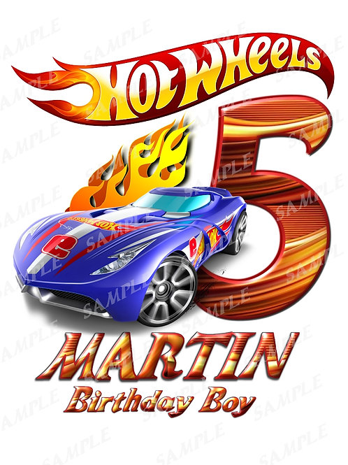 Hot wheels birthday boy, iron on transfer, printable jpg. Any name any age
