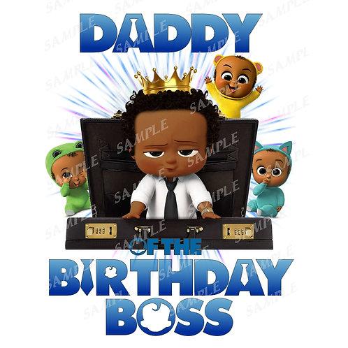 Boss Baby Birthday Shirt, Iron on. African American Boy. Daddy
