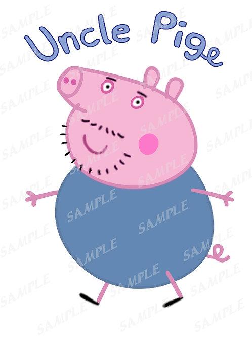 Peppa Pig Uncle pig Birthday Shirt. Peppa Pig Iron on Transfer. PNG, JPG