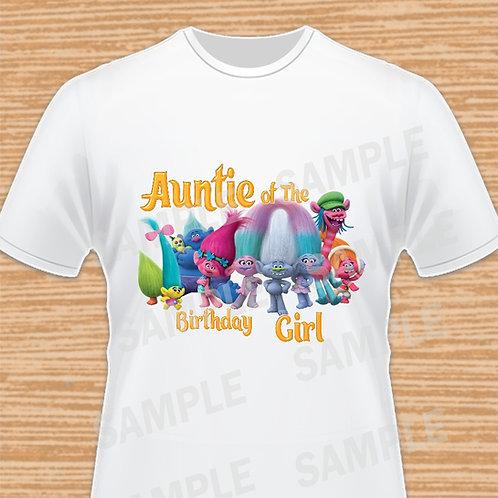 Trolls Birthday Shirt, Trolls iron on heat, Trolls Auntie,Troll Poppy