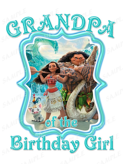Moana Birthday t-shirt. Moana Transfer. Grandpa shirt.