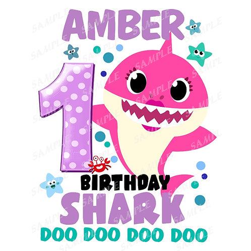 Baby Shark Birthday Shirt. Heat Transfer. Birthday Girl