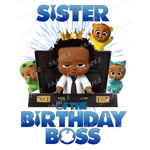 Boss Baby Birthday Shirt, Iron on. African American Boy. Sister