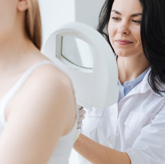 Concentrated dermatologist using medical