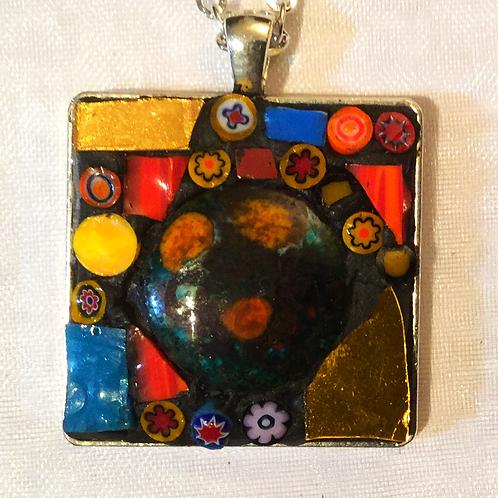 "1 1/8th"" square mosaic pendant"