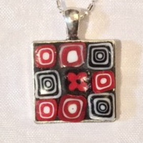 "7/8"" square  mosaic pendant with metal nickel free chain"