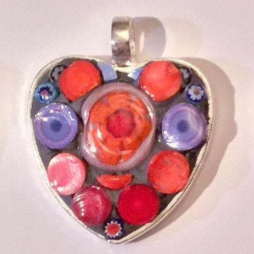 """1"""" Mosaic Heart Pendant"""