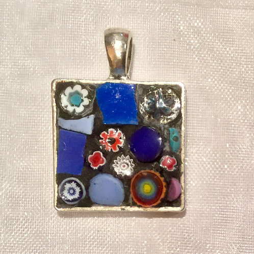 "7/8"" square mosaic pendant with chain"