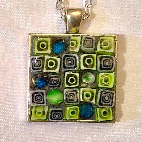 """1 1/16"""" square mosaic pendant"""