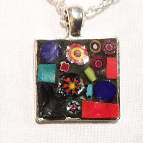 """7/8"""" square mosaic pendant with chain"""