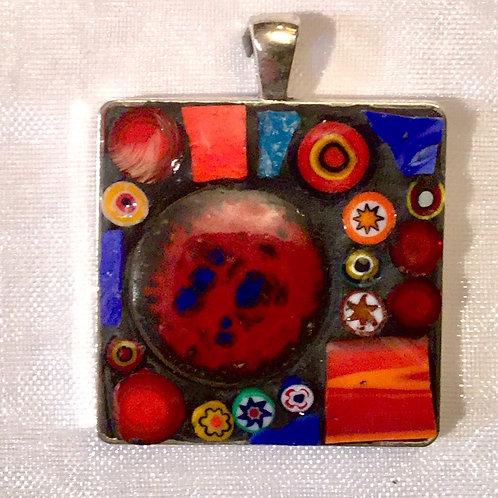 """1 1/8"""" square mosaic pendant"""