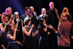 Kevin Fox with Vocalocity's sopranos