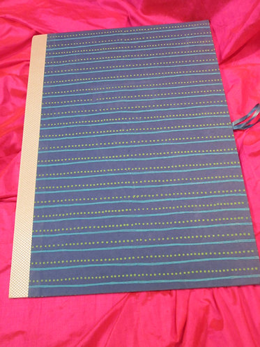 Art Portfolio Navy with Teal Stripe Green Dots