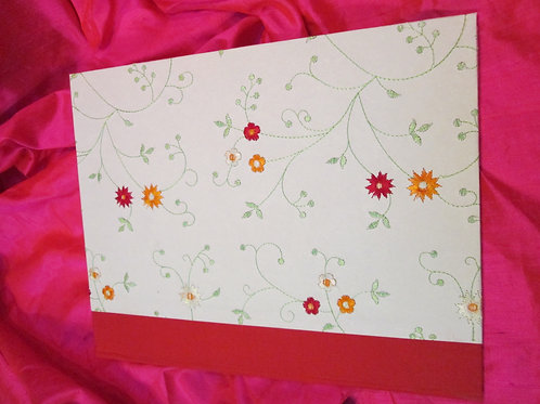 Writing Portfolio - Cream with Embroidered Flowers