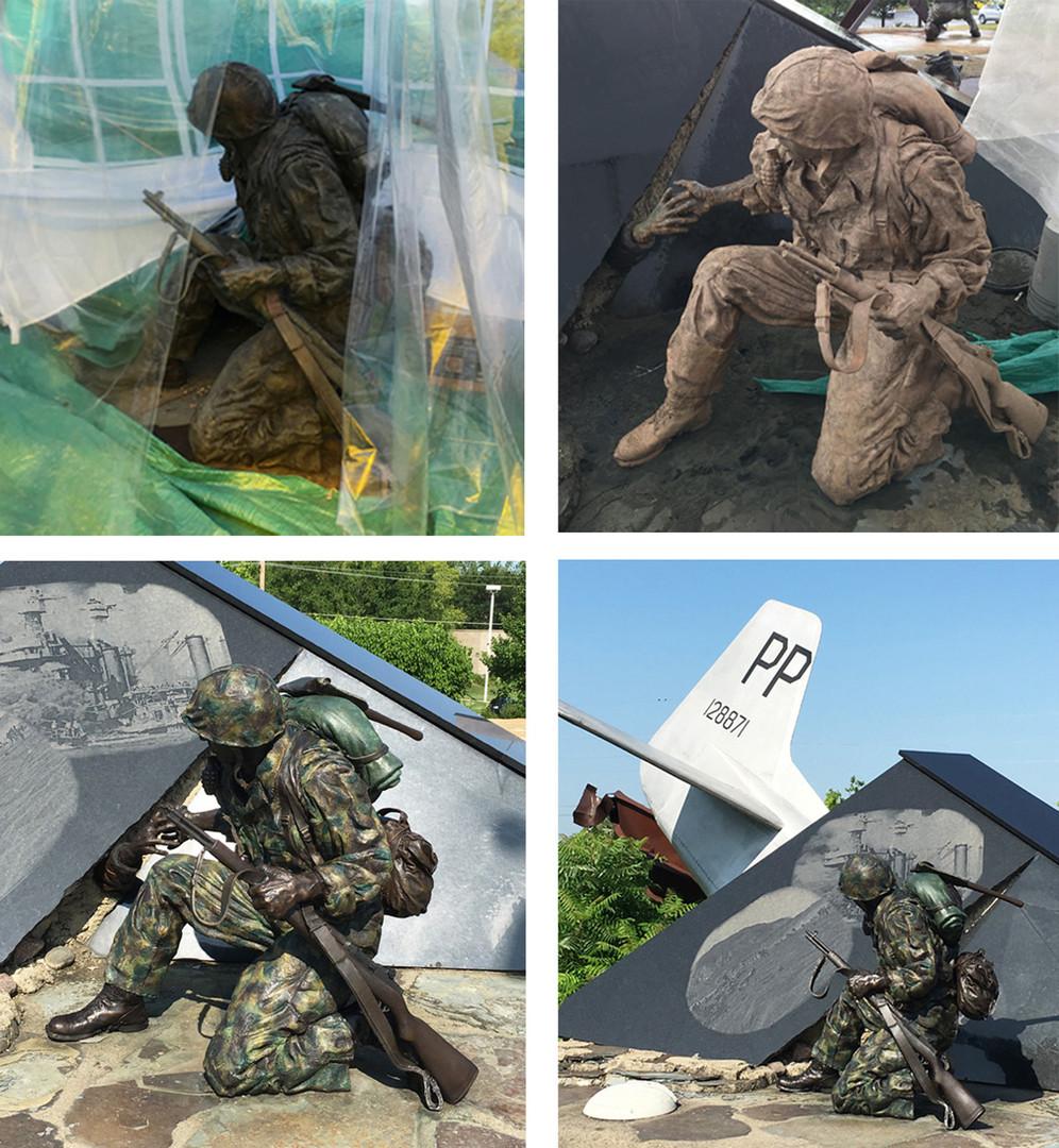Bronze Restoration of World War II Pacific Soldier