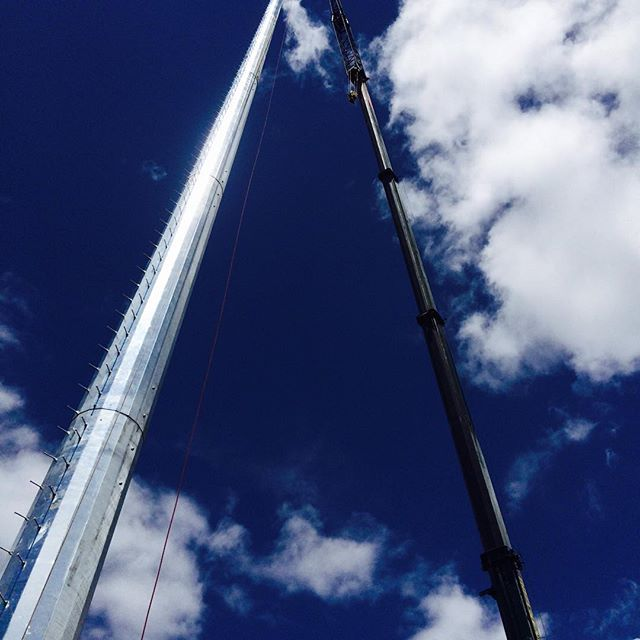 200' cell tower install, Ben & Tim in Bailey Colorado