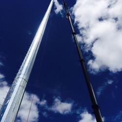 200' cell tower install, Ben & Tim in Bailey Colorado