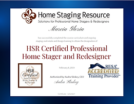 Marcia Gloria HSR Certificate - Home Staging & Redesign