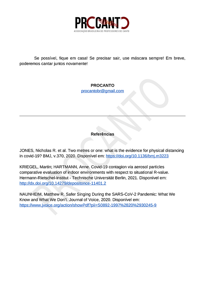 Aulas de canto COVID19 - CARTA 1 - Aulas