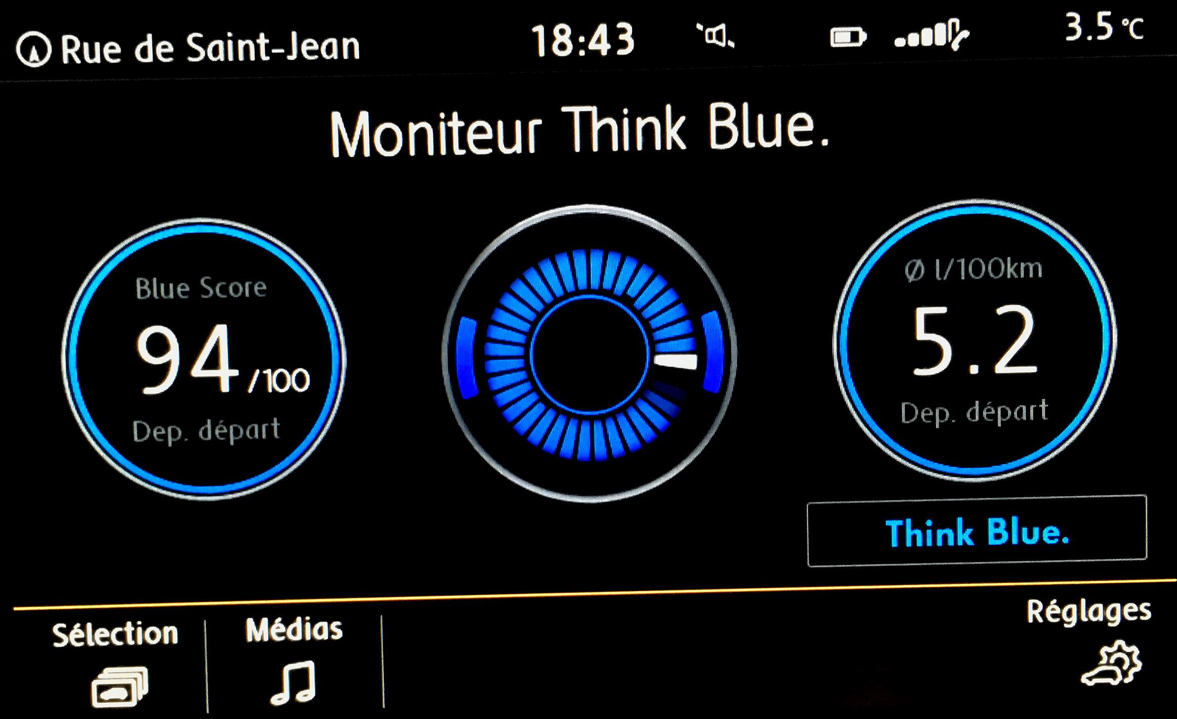 Le moniteur think blue t'informe si ta conduite est énergétiquement efficace. Vincent Gaillard auto-