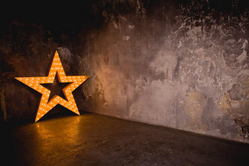 Large wooden star with a large number of