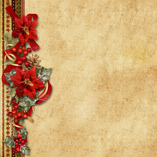 Christmas garland with poinsettia on the