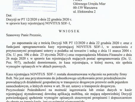 Wniosek do Głównego Urzędu Miar o cofnięcie certyfikatu dla ekasy NOVITUS opracowanej dla BOLTA.
