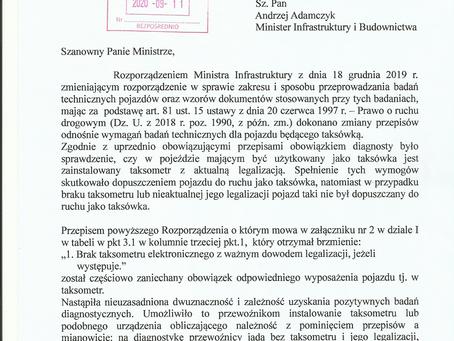 Pismo do Ministerstwa Infrastruktury w sprawie zmiany rozporządzenia o przeglądach taksówek.