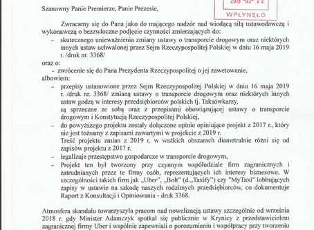 Petycja do Prezesa Kaczyńskiego w sprawie nowelizacji Ustawy Transportowej.
