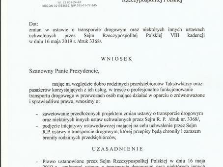 Wniosek do Pana Prezydenta o zawetowanie nowelizacji Ustawy Transportowej