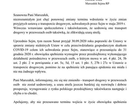 Pismo do Pani Marszałek Sejmu w sprawie poprawek Senatu do Ustawy COVID.