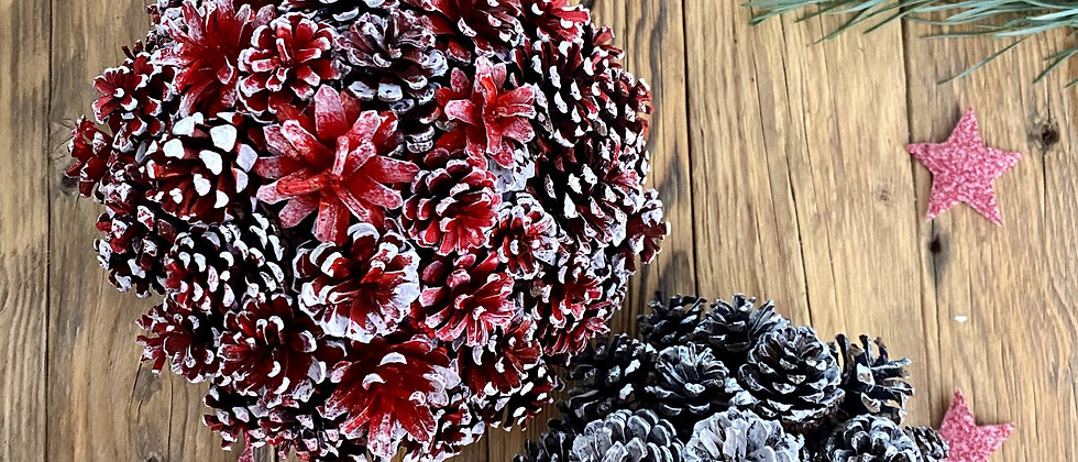 Red Pine Cone Decorations